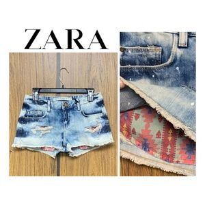 NEW Zara Exposed Tribal Pocket Jean Shorts Bleach